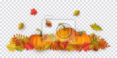 Image Feuilles d'automne et motif de citrouilles sur fond transparent. Feuilles d'oranger florales saisonnières d'érable chêne avec gourdes pour les vacances de Thanksgiving, conception de vecteur de décora