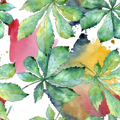 Image Feuilles de châtaignier vert dans un style aquarelle. Motif de fond sans couture. Feuille d'aquarelle pour le fond, la texture, le motif d'emballage, le cadre ou la bordure.