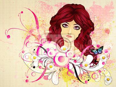 Fille aux cheveux rouges avec des fleurs