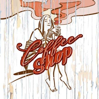Image Fille de café-restaurant dessin sur fond en bois
