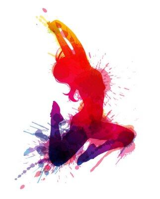 Image Fille de danse avec des éclaboussures grungy