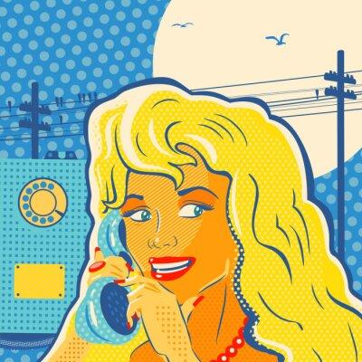 Image Fille de style d'art de bruit avec le téléphone