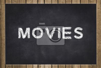 image films texte blanc sur tableau noir