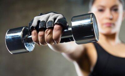 Image Fin, haut, sportif, femme, acier, haltère