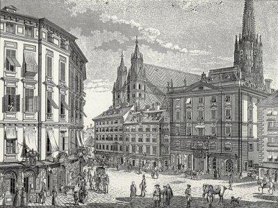 Image Fin Vienne Stock im Eisen-Platz du 18ème siècle., Modèle de gravure de cuivre