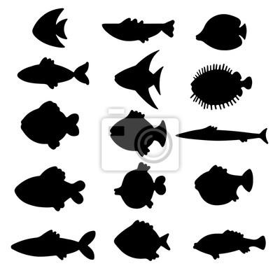 Fish, ensemble, noir, silhouettes, isolé