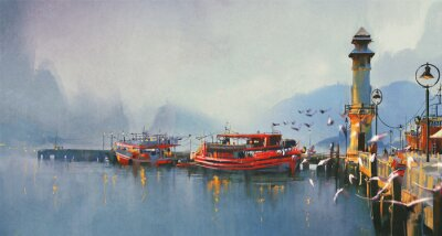Image fishing boat in harbor at morning,watercolor painting style
