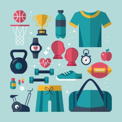 Image Fitness et santé icônes plates fixées