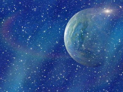 Image Flash blanc de la planète spatiale. Cosmos fond ciel