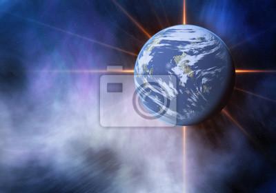 Flash de la planète spatiale. Cosmos fond ciel