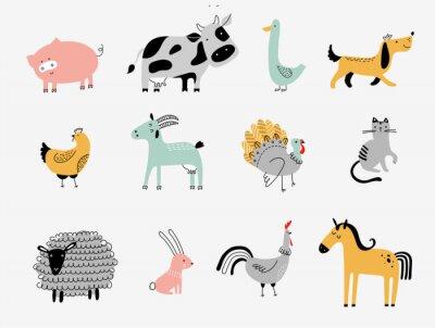 Image flat vector illustration of cute farm animals