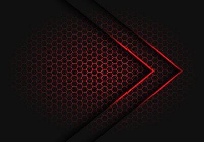 Image Flèche rouge abstraite lumière direction ombre sur hexagone maille modèle conception illustration vectorielle de fond futuriste moderne.