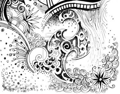 Fleur Abstraite Dessin Noir Et Blanc De Nature Peintures Murales