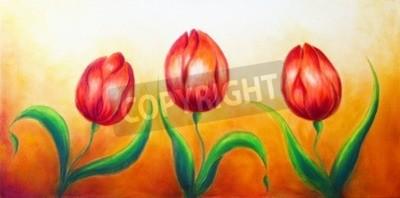 Image Fleur, motif, trois, danse, rouges, tulipe, fleurs, beau, clair, coloré, peinture, ocre, fond