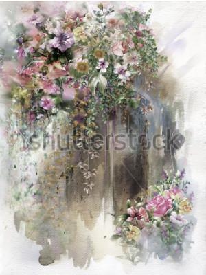 Image Fleurs abstraites sur la peinture aquarelle murale. Fleurs multicolores de printemps