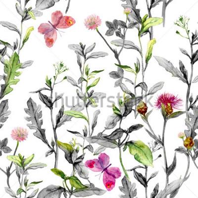 Image Fleurs des prés, herbe, herbes. Fond de plantes sans couture dans les couleurs noir et blanc pour le stylisme. Aquarelle