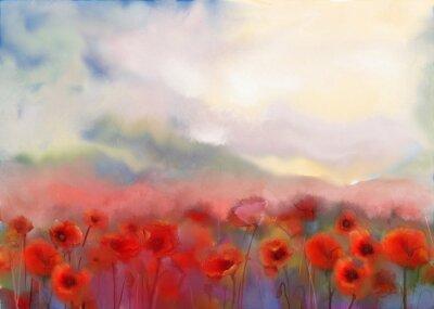 Image Fleurs rouges de pavot déposé peinture à l'aquarelle
