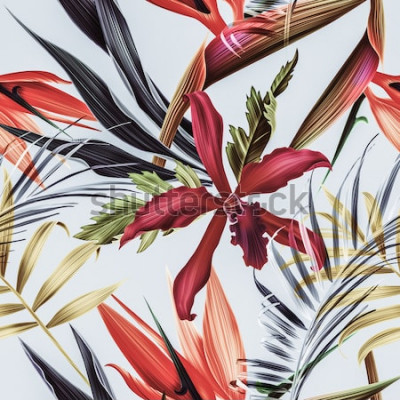 Image Fleurs tropicales sans soudure, plantes et feuilles de fond