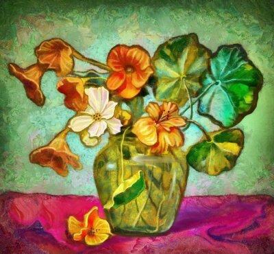 Image Fleurs vase en verre