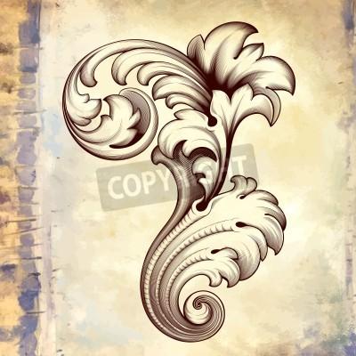 Image floral défilement filigrane cadre design frontière élément de motif d'acanthe vintage Gravure baroque au rétro grunge