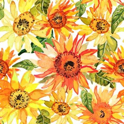 Image Floral, seamless, modèle, tournesols, dessiné, aquarelle.