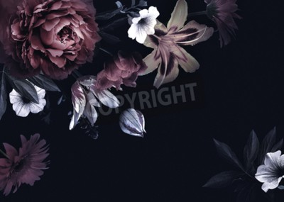 Image Floral vintage card with flowers. Peonies, tulips, lily, hydrangea on black background.  Template for design of wedding invitations, holiday greetings, business card, decoration packaging