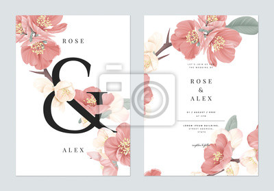 Image Floral wedding invitation card template design, pink Japanese quince flowers with ampersand lettering on white, pastel vintage theme