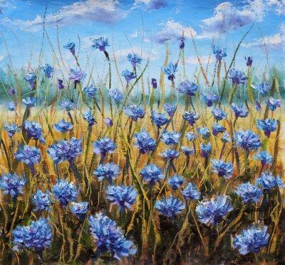 Image Flower Field. Fleurs bleues dans le pré. Ciel bleu. Peinture à l'huile.