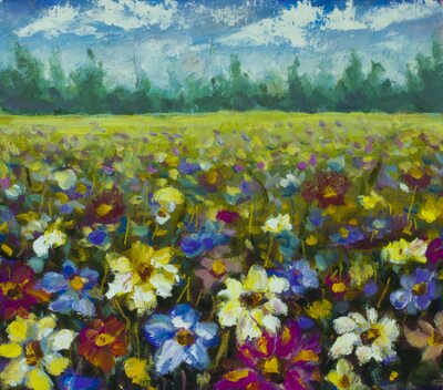 Image Flowers field oil painting.
