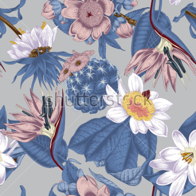 Image Flowers. Seamless vector background. Vintage illustration. Exotica. Tropics.