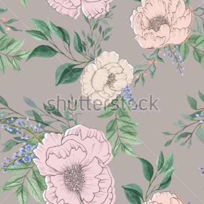 Image fond aquarelle sans soudure mélanger coloré fleur floral et feuilles avec dessin au trait utilisé pour la texture de fond, papier d'emballage, textile ou la conception de papier peint