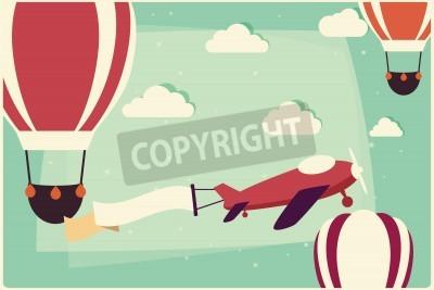 Image Fond avec des ballons à air chaud et avion avec ruban, illustration vectorielle