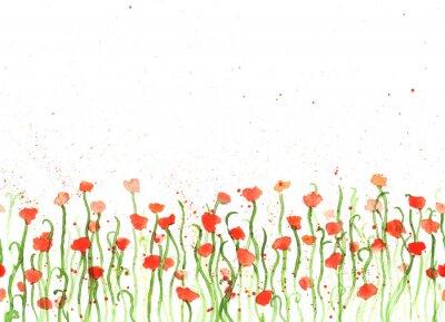 Image Fond avec la main dessin aquarelle coquelicots rouges sur fond blanc. Bannière transparente avec des fleurs. Main, peinture, copie, espace, copie