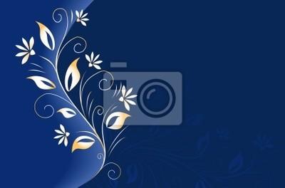Fond Bleu Fonce Avec Element Floral Dore Peintures Murales