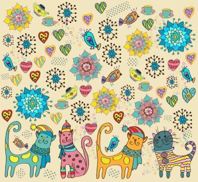 Image Fond clair avec des chats, des fleurs et des coeurs