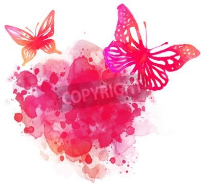Image Fond d'aquarelle étonnant avec le papillon. Vector art isolé sur blanc