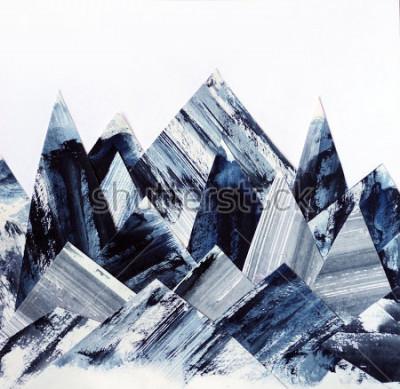 Image Fond d'art. Texture d'encre sur le papier. Collage des montagnes abstraites