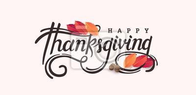 Image Fond de bannière pour le jour de Thanksgiving. Citation de célébration pour illustration card.vector. Saison d'automne, calligraphie de