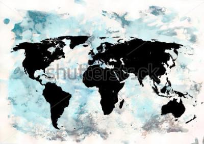 Image Fond de carte du monde. Fond de style grunge émotionnel abstrait. Élément de design moderne.