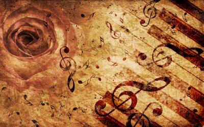Fond de cru avec rose et des notes