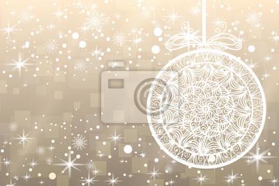 Fond de Noël. Flocons de neige, étoiles, boule