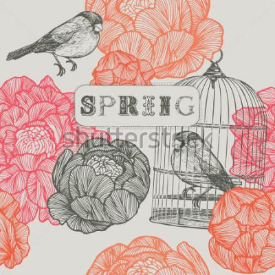 Image Fond de printemps. Oiseaux et cages. Modèle sans couture