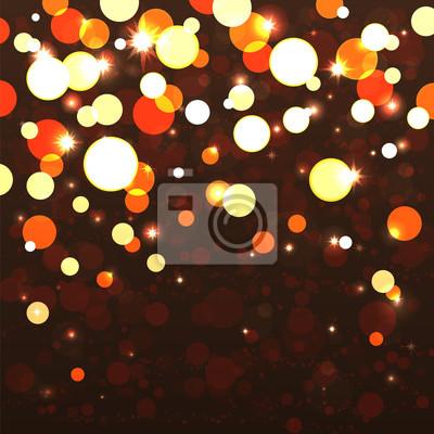 Fond de vacances avec des lumières brillantes brillantes.Red, couleur or