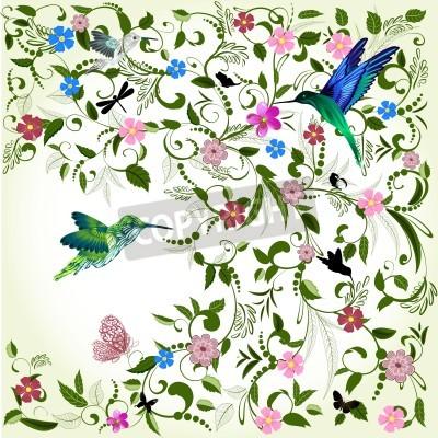 Image Fond floral avec des oiseaux