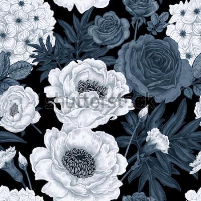 Image Fond floral noir et blanc avec des roses, des pivoines, des hortensias, des oeillets.
