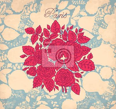 Fond floral vintage avec des roses