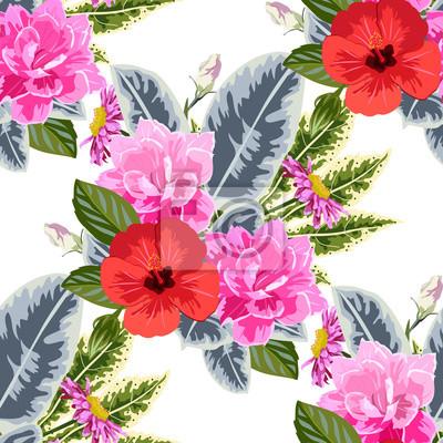 Image Fond transparent avec des fleurs roses et rouges. conception