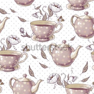 Image Fond transparent avec des tasses de thé, des pots et des fleurs dans un style vintage.