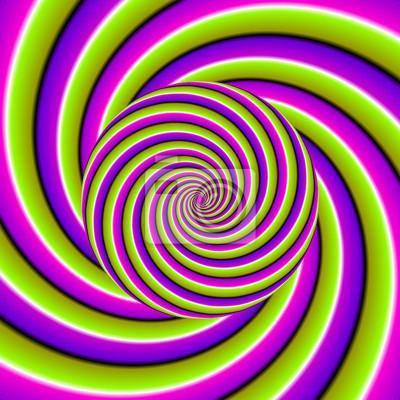 Fond vert, violet et rose avec une sphère croissante. illusion ...