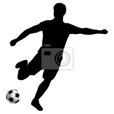 Footballeur Silhouette Noire Fond Blanc Peintures Murales Tableaux Dessin Vecteur Vectoriel Myloview Fr